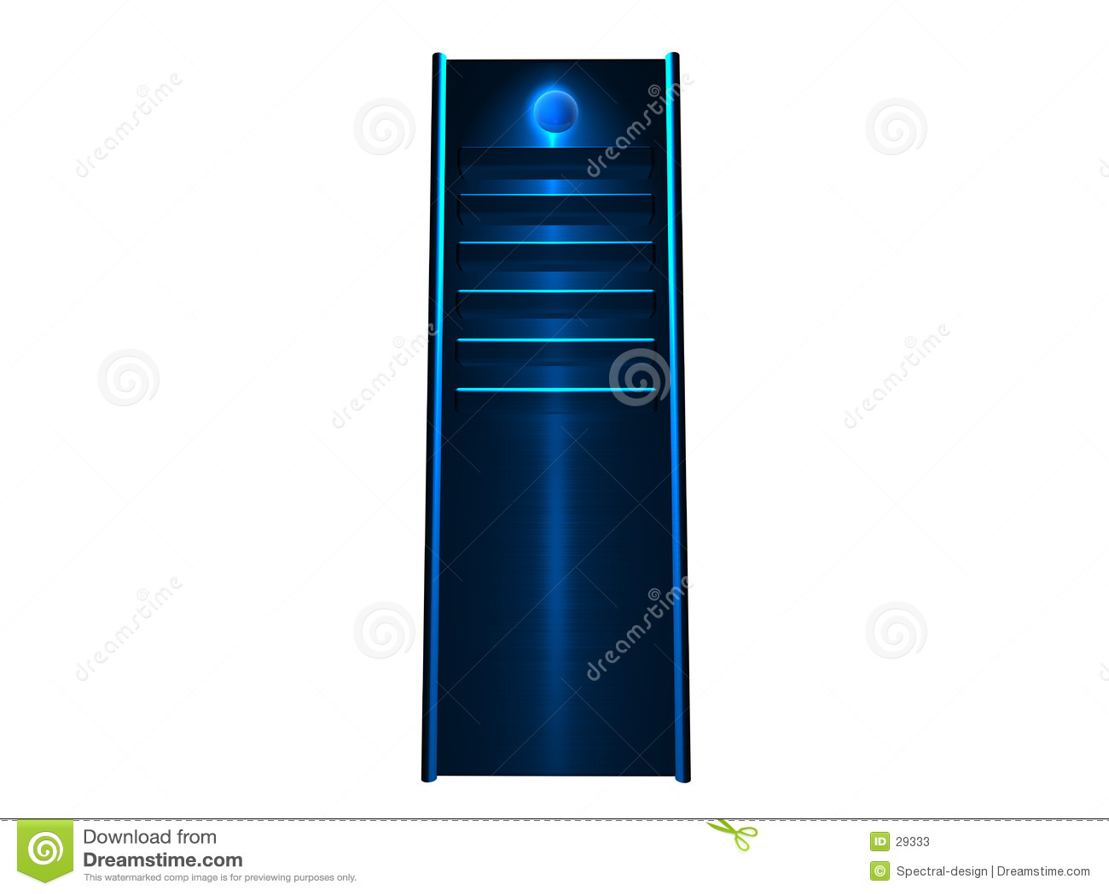 Blå glödande server 3d