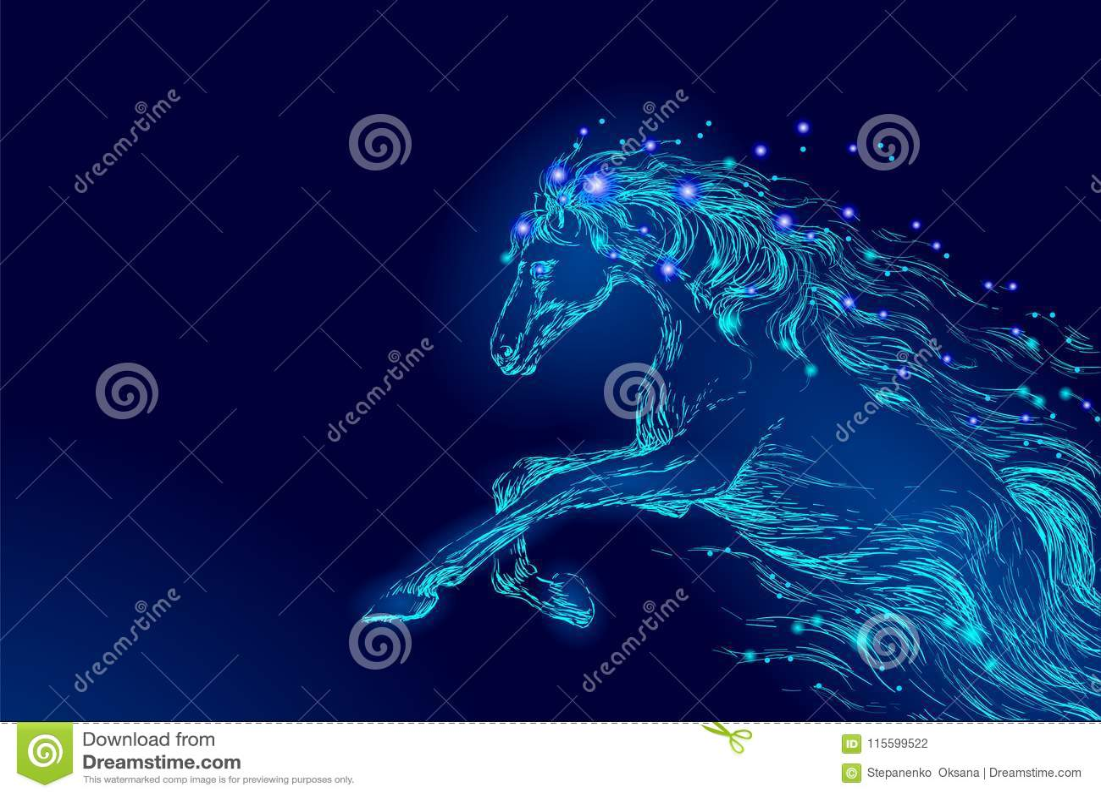 Blå glödande stjärna för himmel för natt för hästridning Gör mellanslag glänsande kosmos för idérik bakgrund för garnering magisk