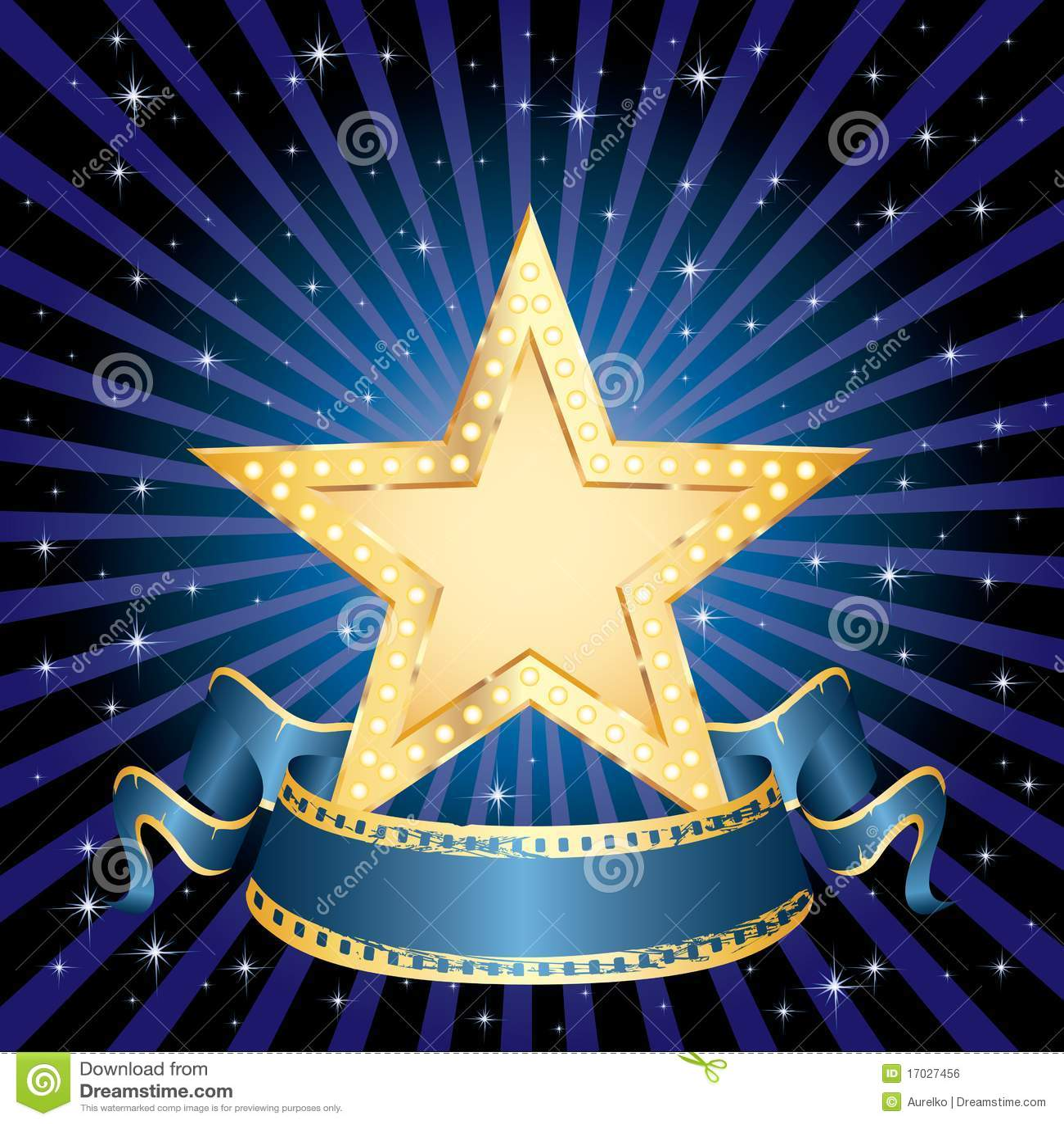 Blå guld- strålstjärna