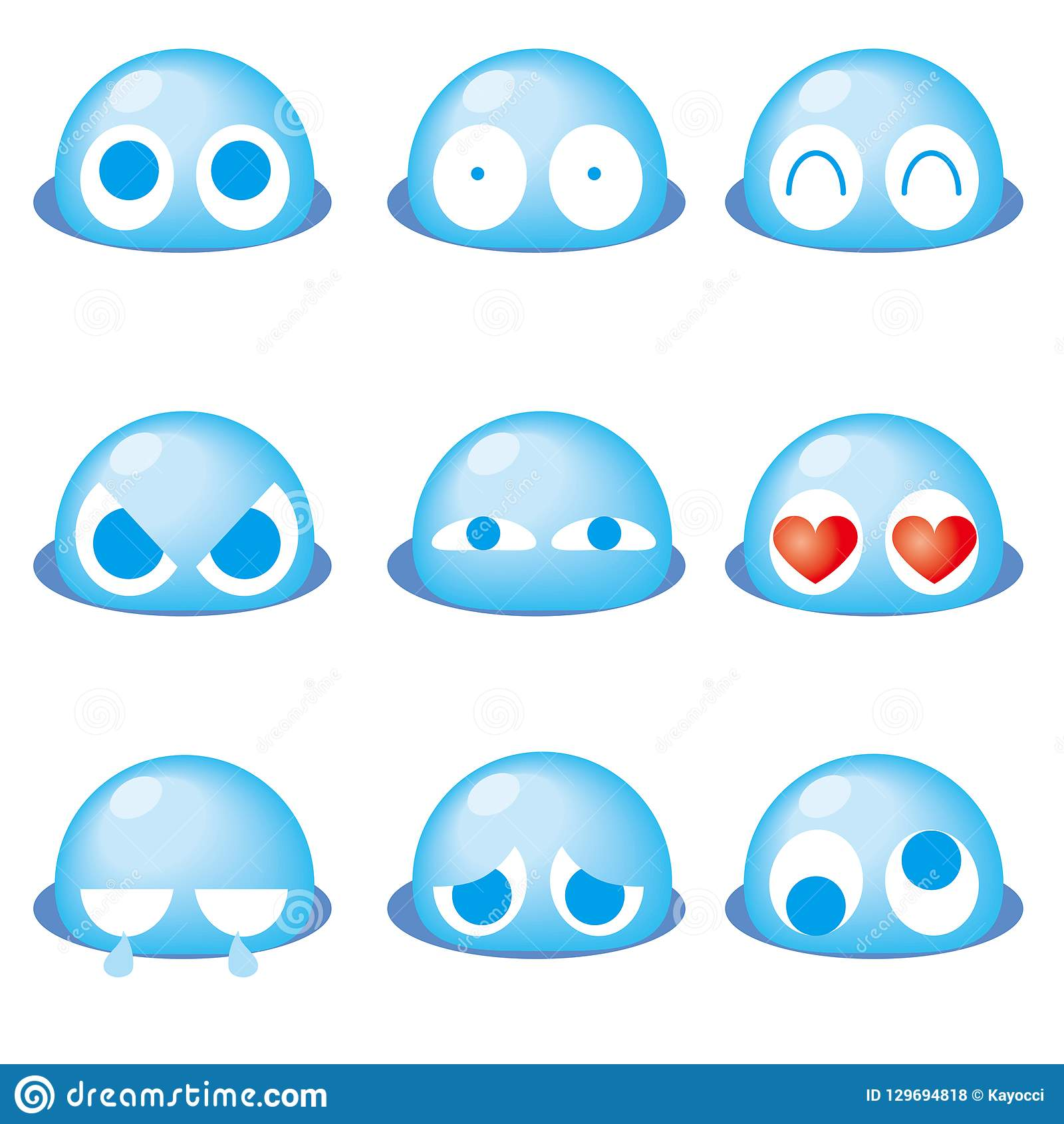 Blå gullig emoticon 9set -