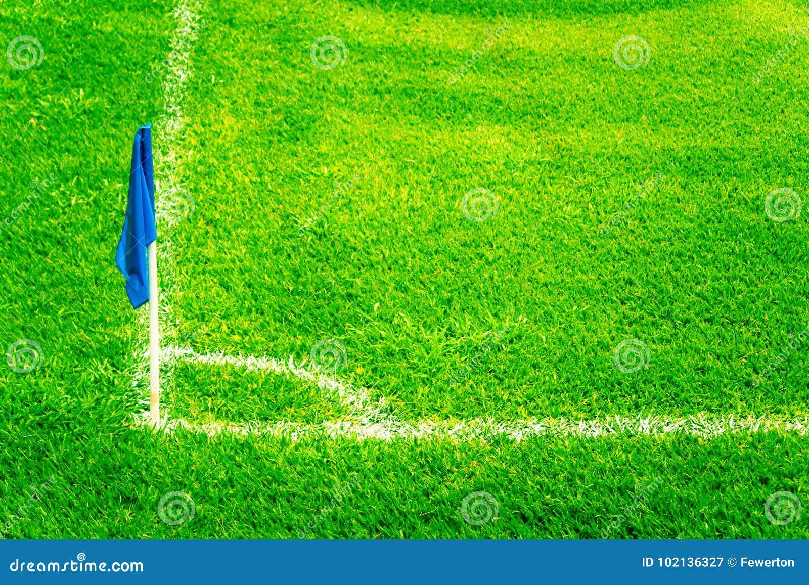 Blå hörnflagga på ett fotbollfält med ljusa nya gröna torvagräs- och för vitfotbollhandlag linjer