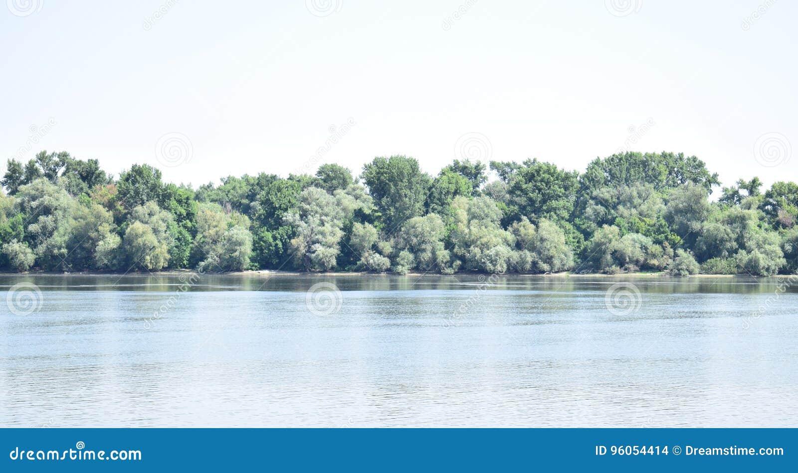 Blå himmel, gröna träd, blå flod