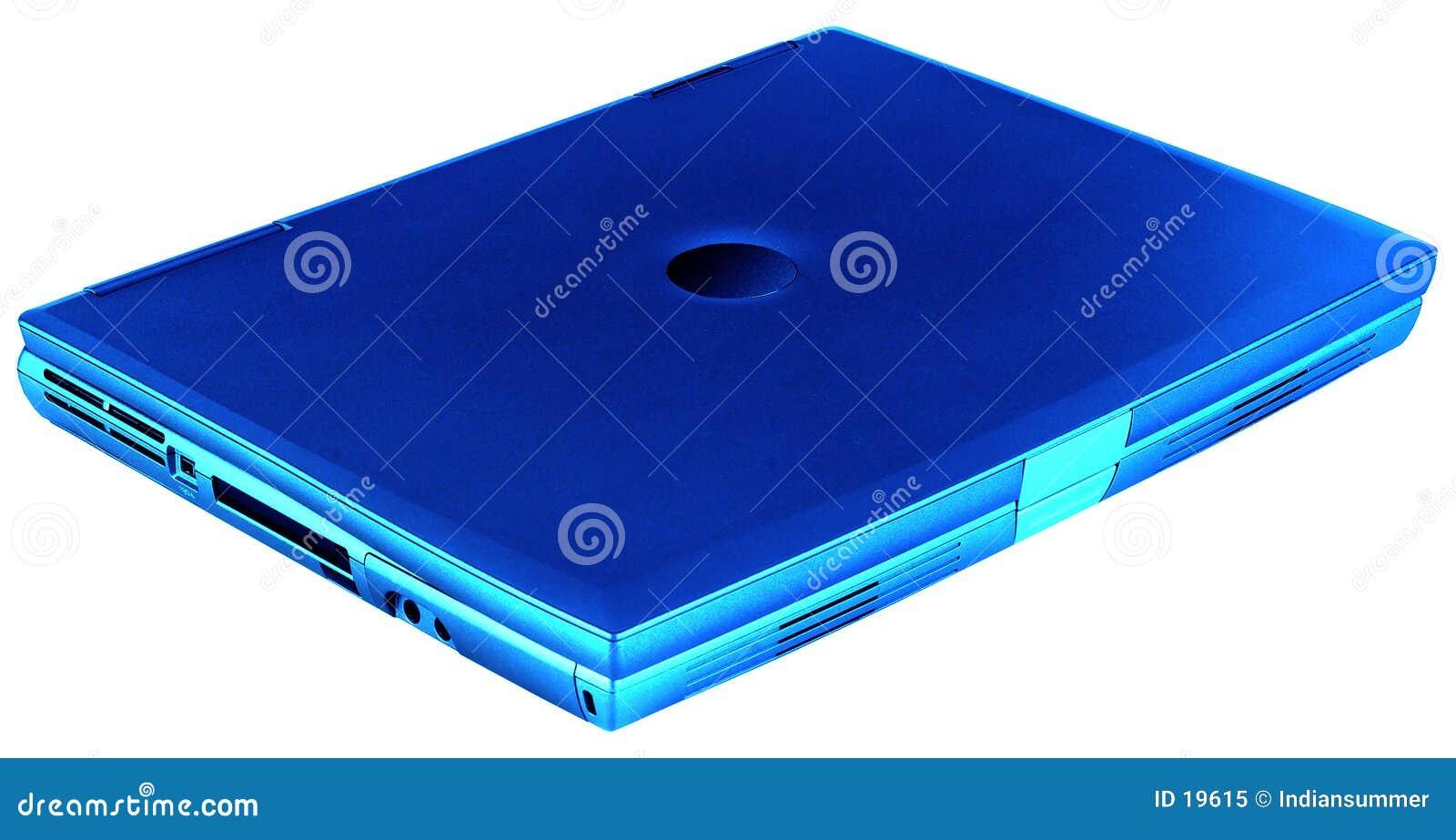 Blå isolerad bärbar dator