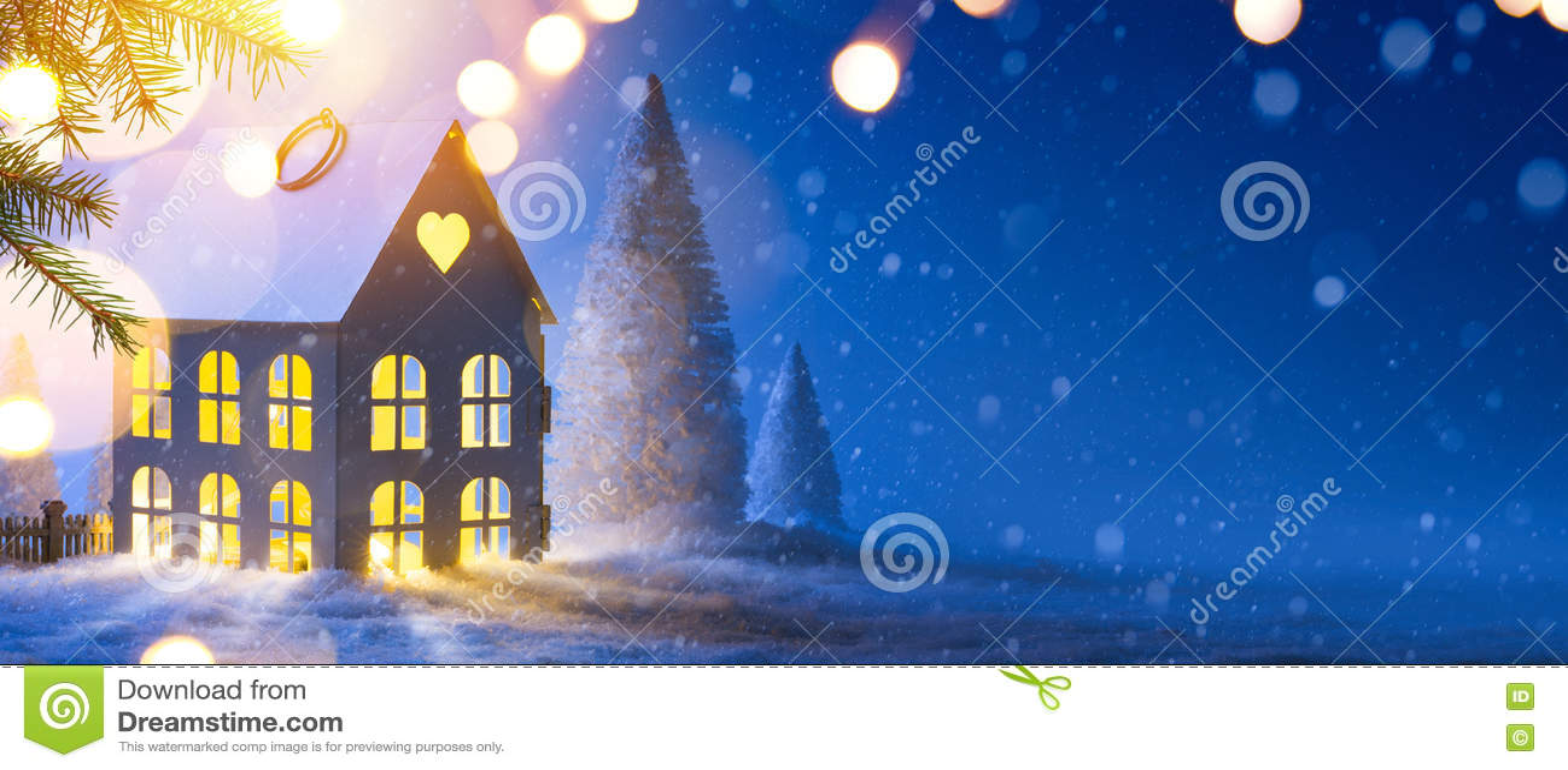 Blå julsammansättning; Semestrar bakgrund med Xmas-dekoren