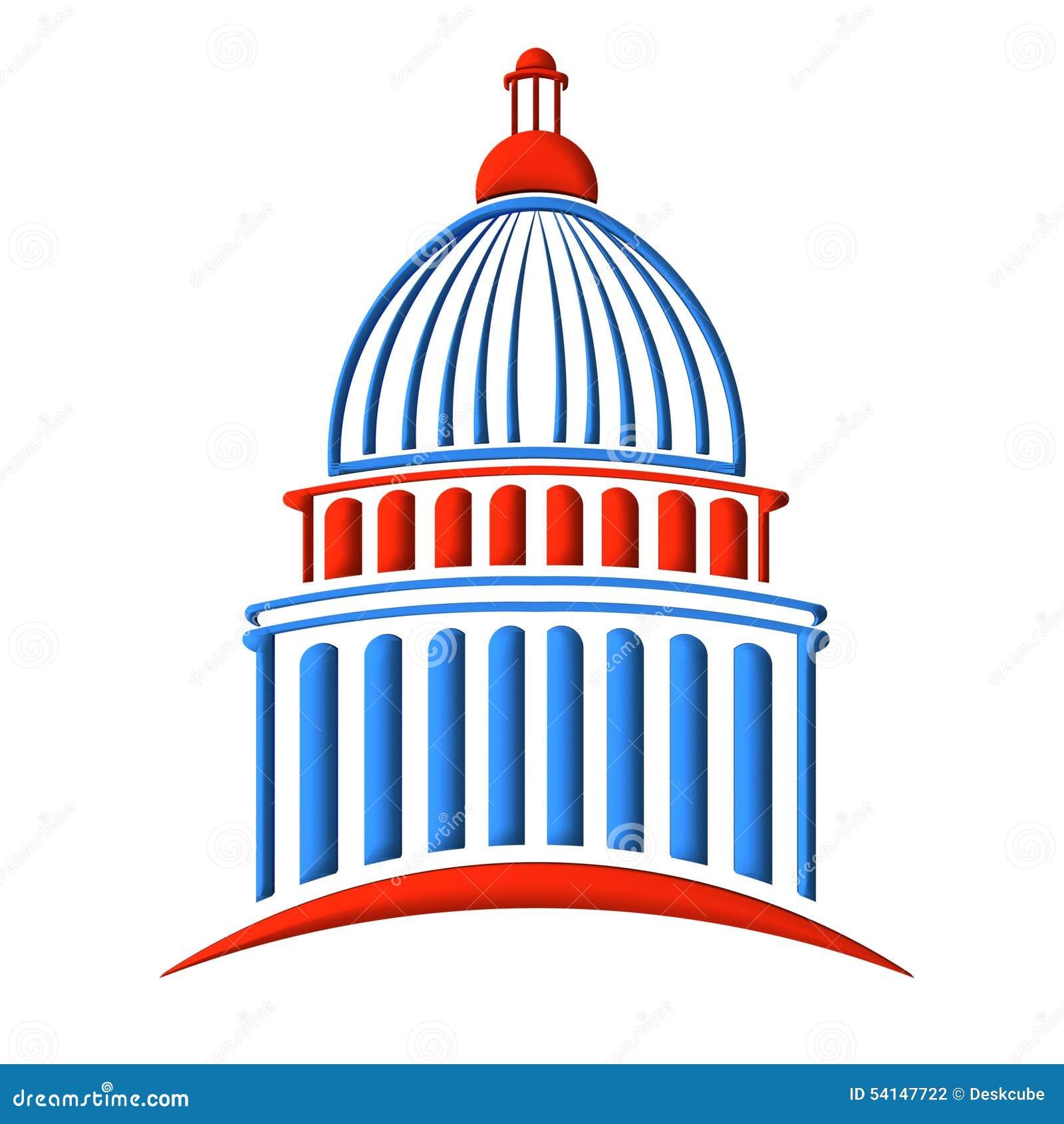 Blå Kapitoliumbyggnadslogo som är röd och