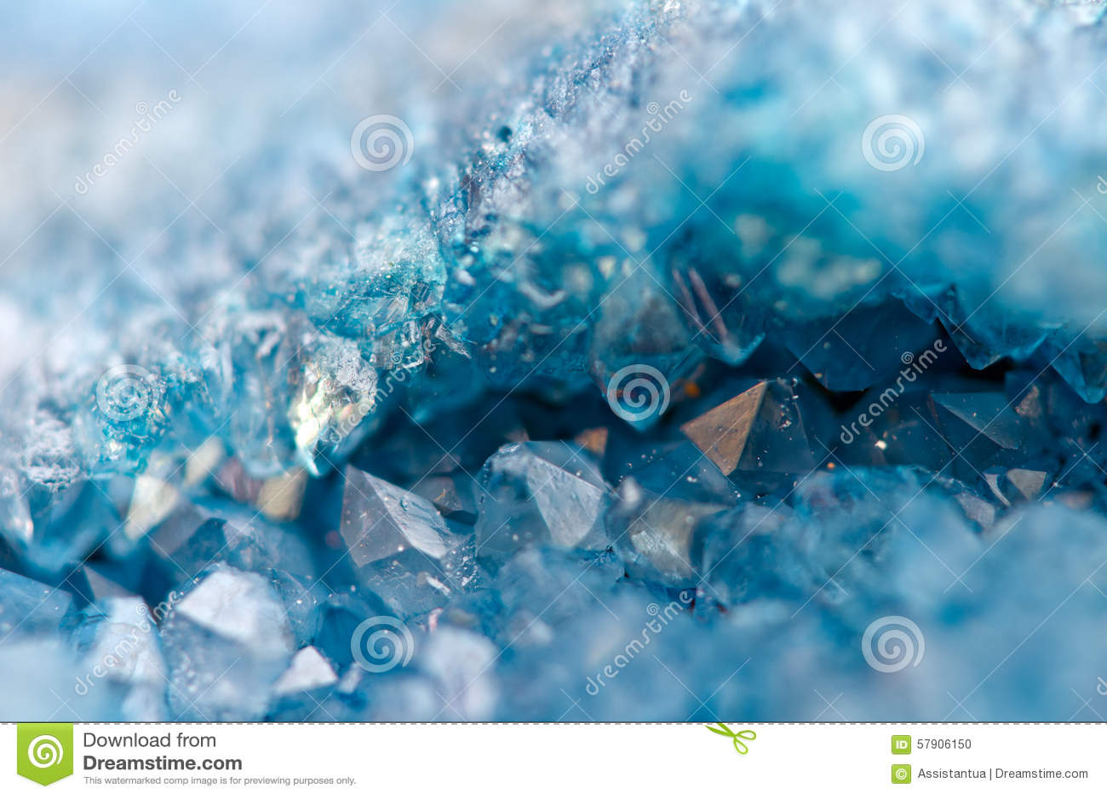 Blå kristallagat SiO2 Makro