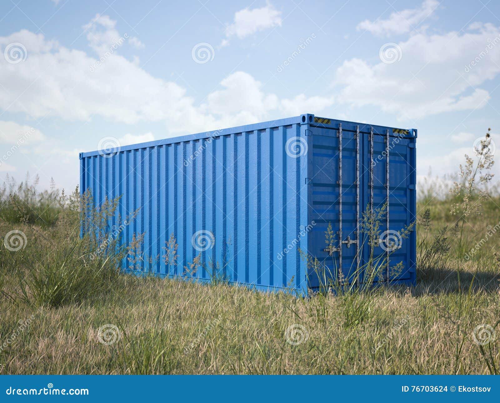 Blå lastbehållare i ett fält framförande 3d
