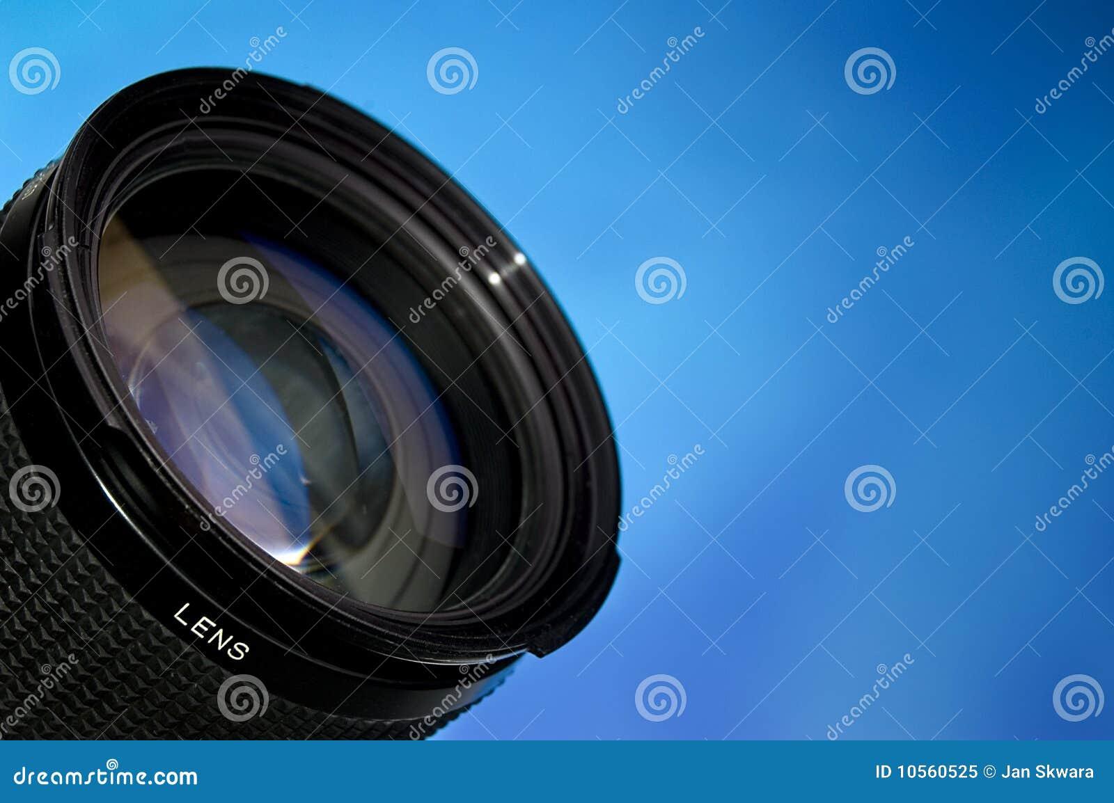 Blå lins över fotografi