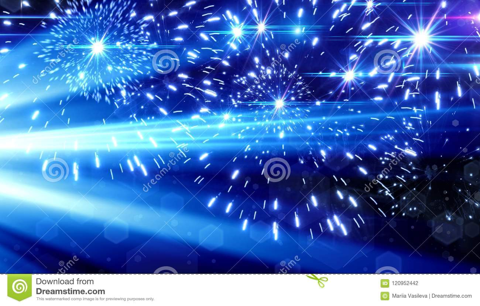 Blå ljus effekt på svart bakgrund, laserstrålar, pråligt ljus,