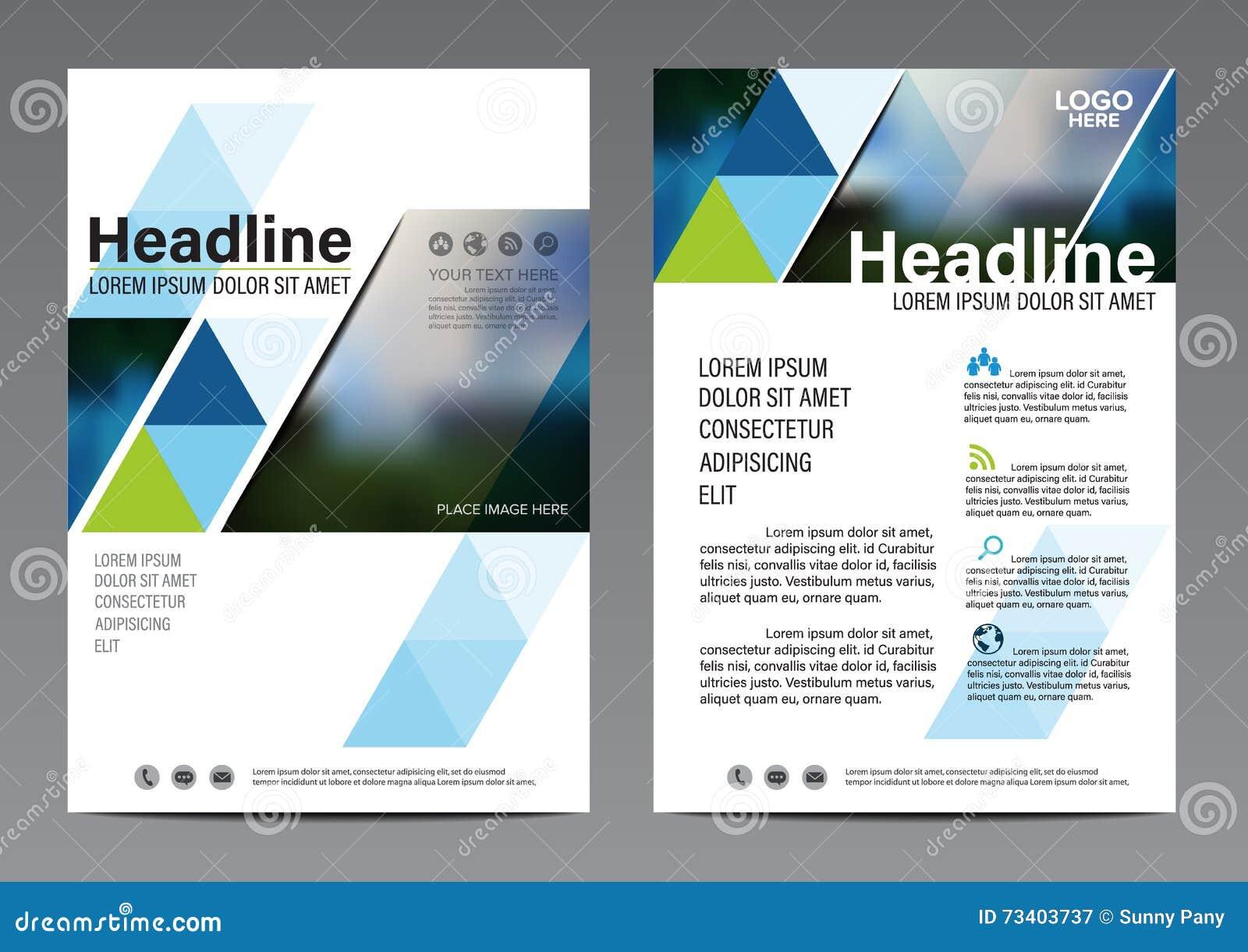 Blå mall för design för broschyrårsrapportreklamblad