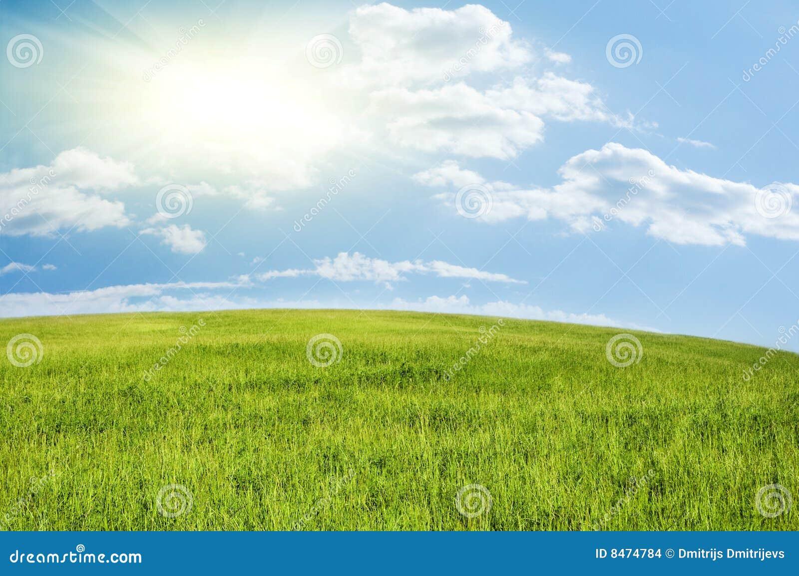 Blå molnig grön kullskysun under whit