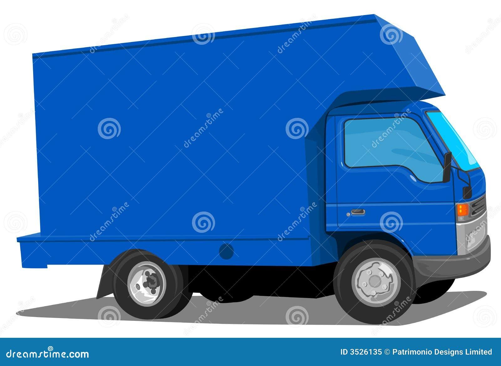 Blå moving skåpbil