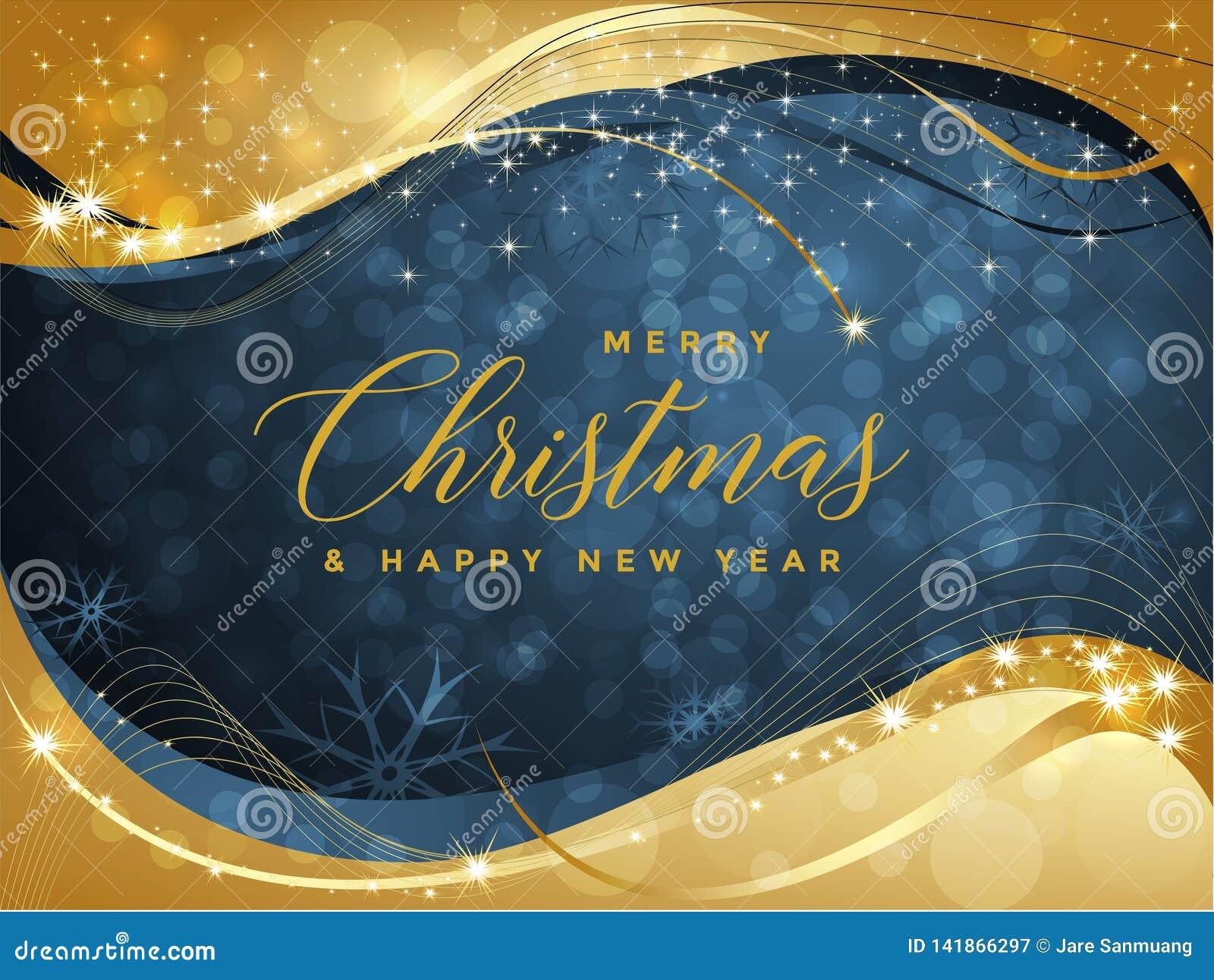 Blå och guld- julbakgrund med glad jul för text och illustrationen för lyckligt nytt år