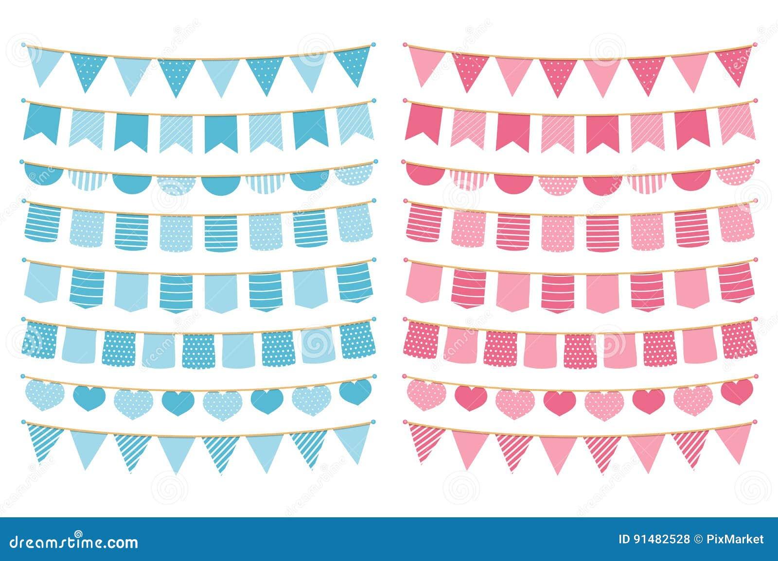 Blå och rosa Bunting