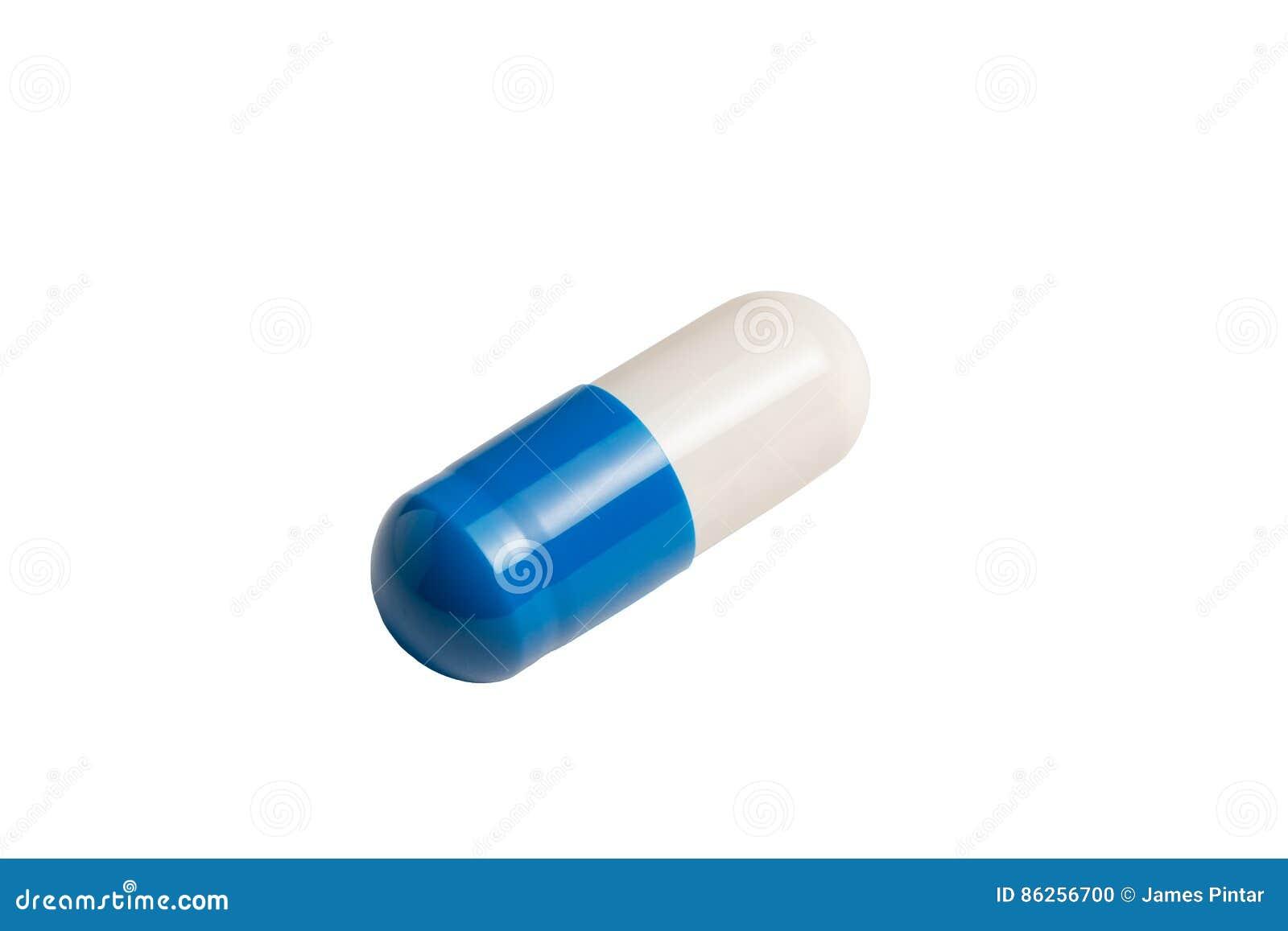 blå vit kapsel