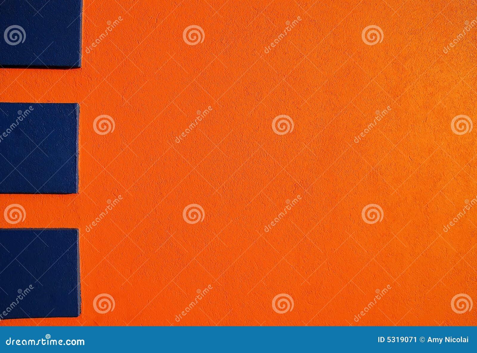 Blå orange stuckatur 2