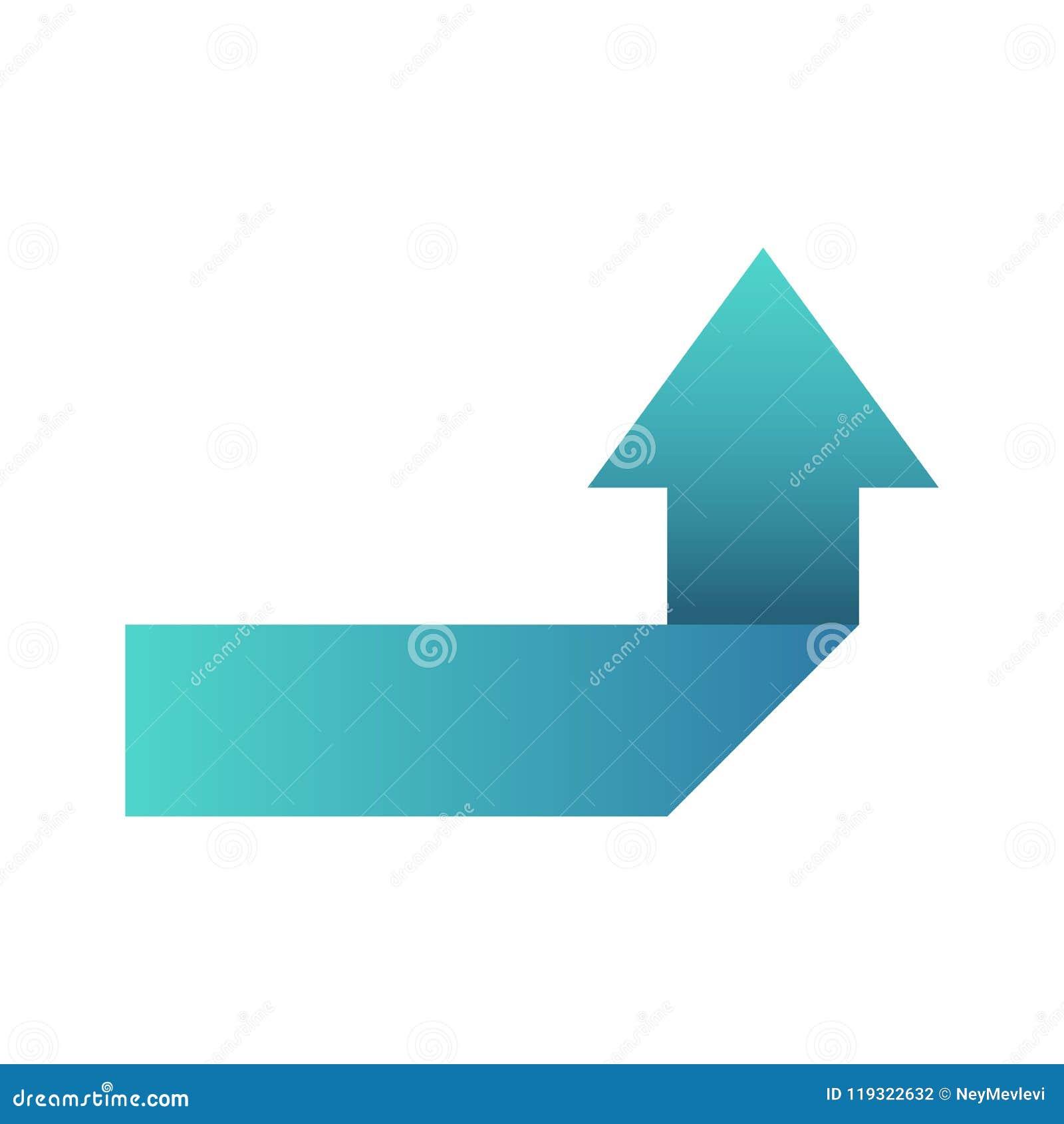Blå pil som vänder högert eller vänstert symbolssymbol eller som ska knäppas