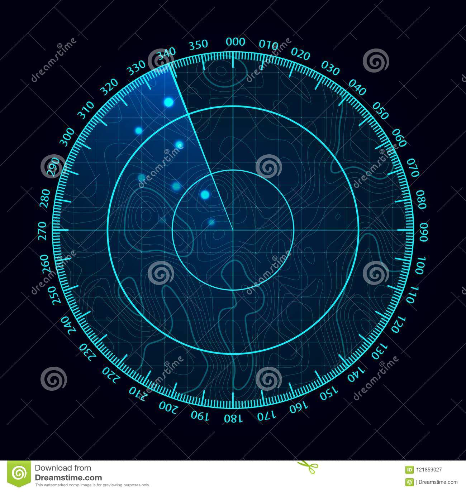 Blå radarskärm för vektor Militärt sökandesystem Futuristisk HUD radarskärm Futuristiska Hud Interface