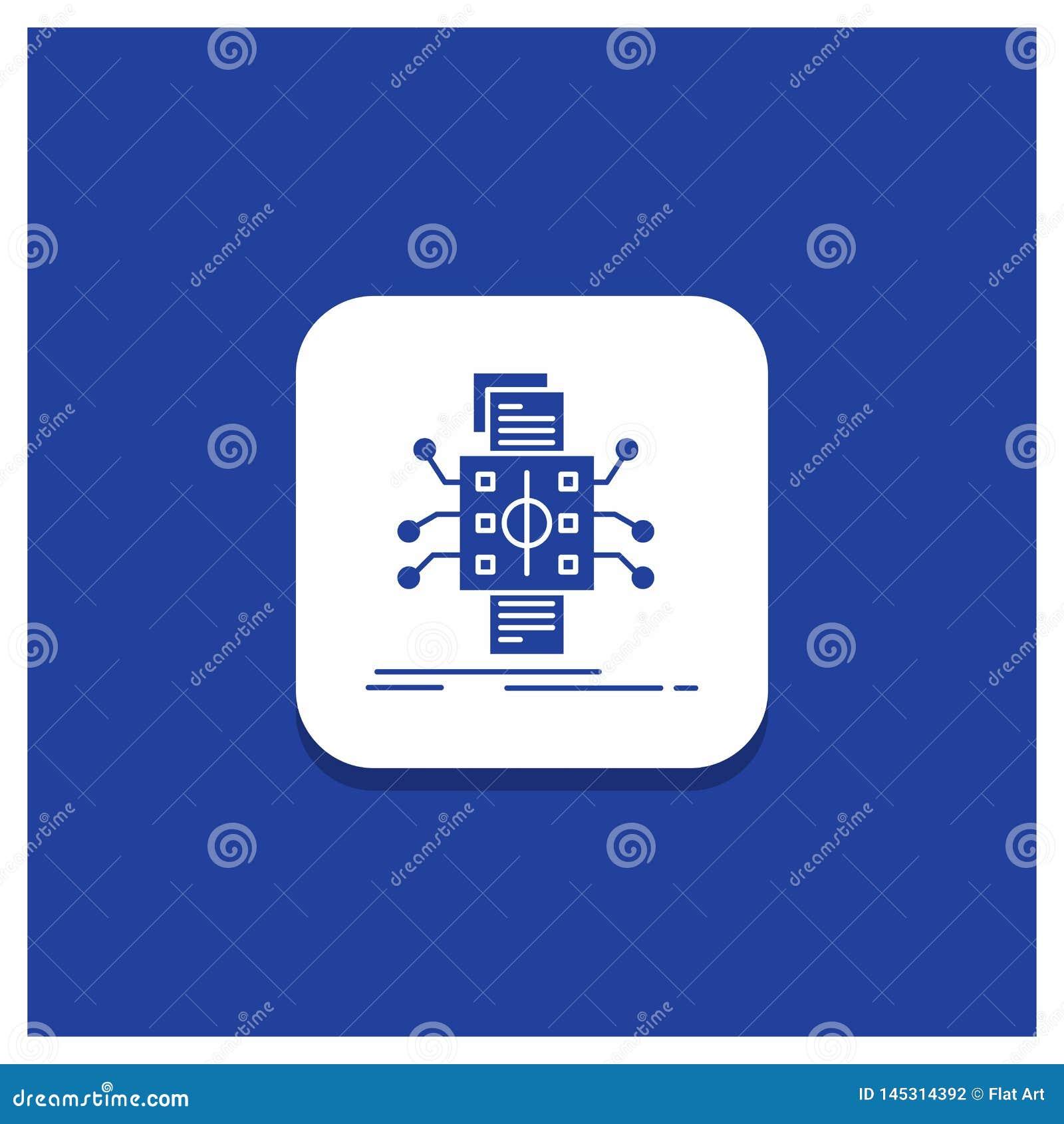 Blå rund knapp för analys, data, utgångspunkt och att bearbeta och att anmäla skårasymbolen