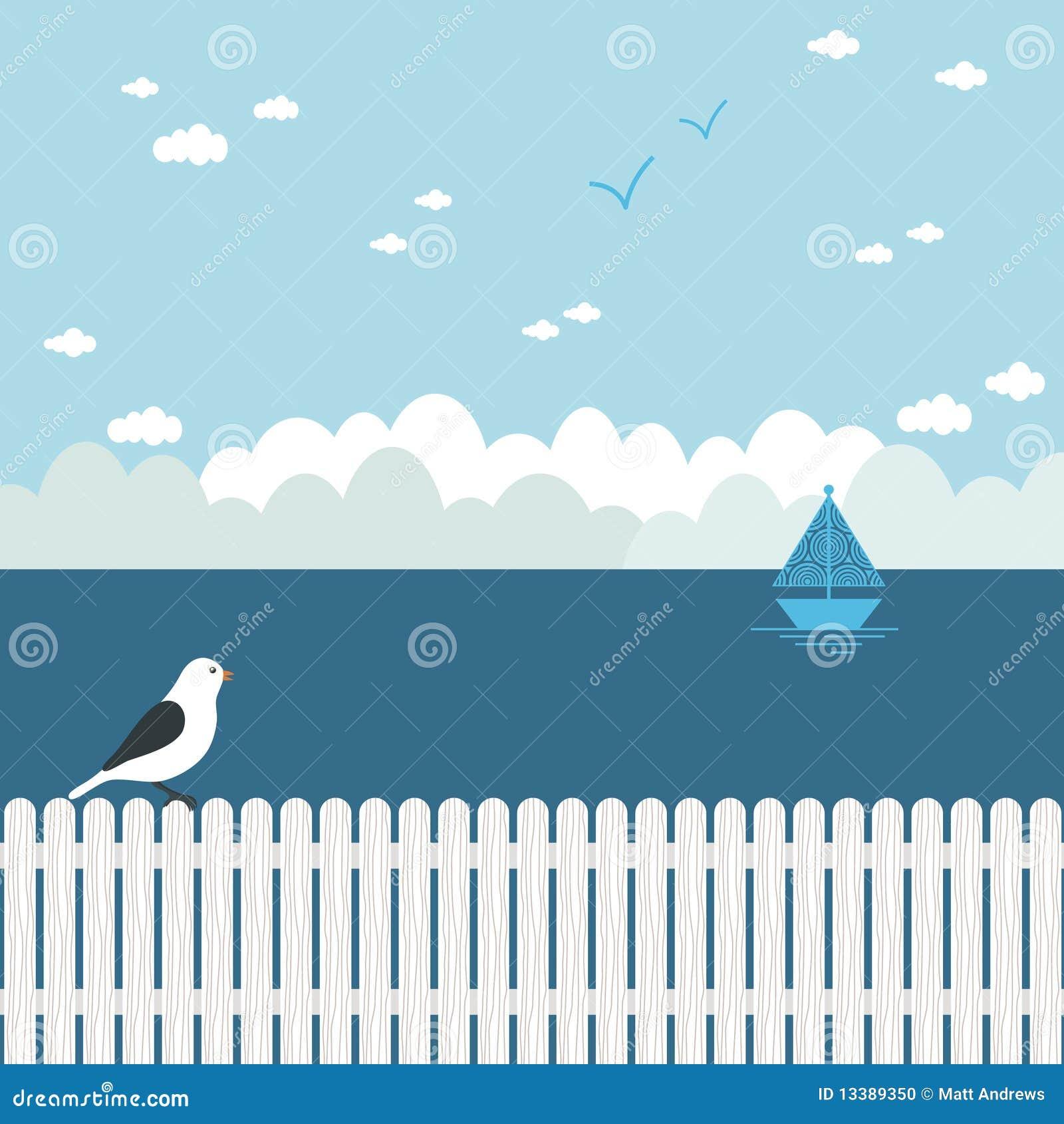 Blå seascape