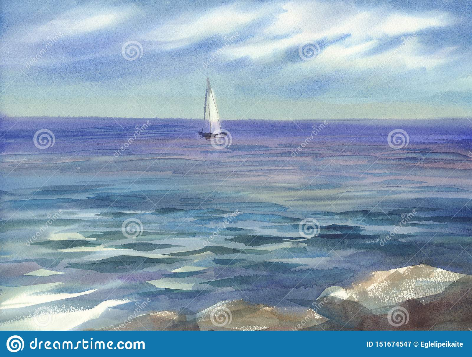 Blå seascape med seglar vattenfärgbakgrund