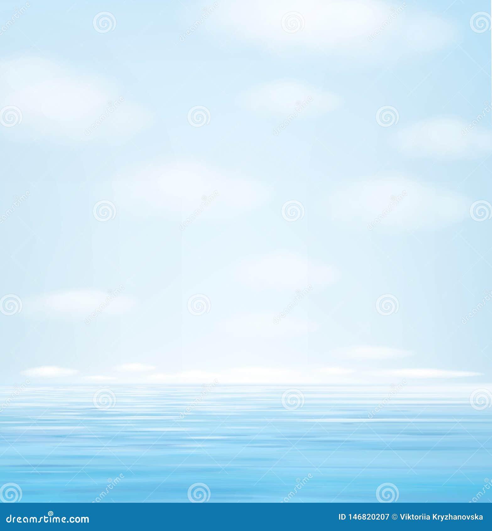 Blå seascapebakgrund för vektor