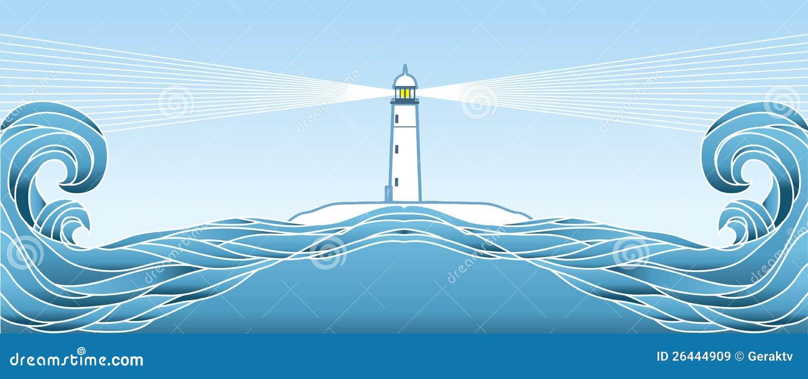 Blå seascapehorisont. Vektorillustration