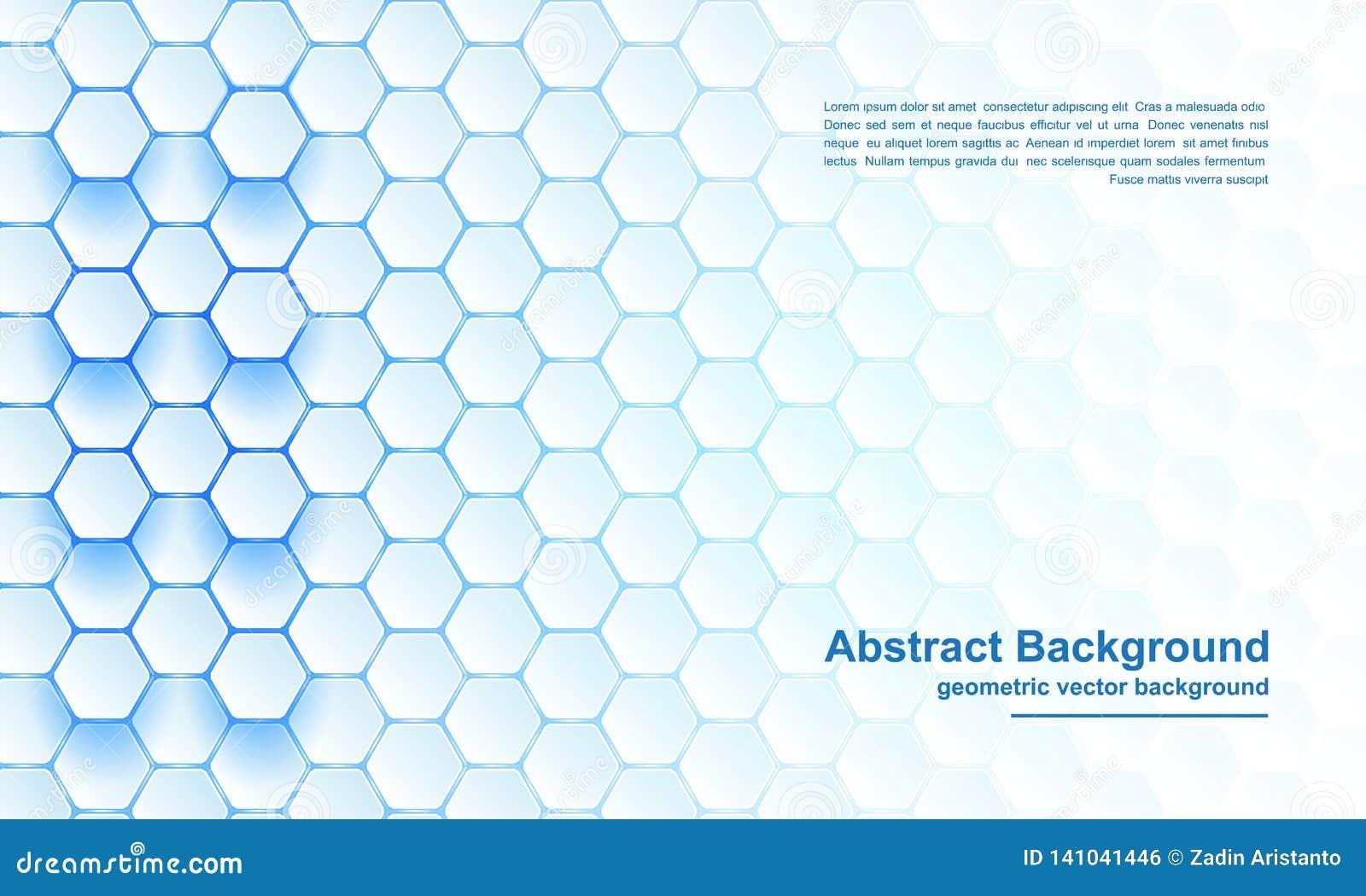 Blå sexhörningsbakgrund, modernt abstrakt begrepp, futuristisk geometrisk vektorbakgrund