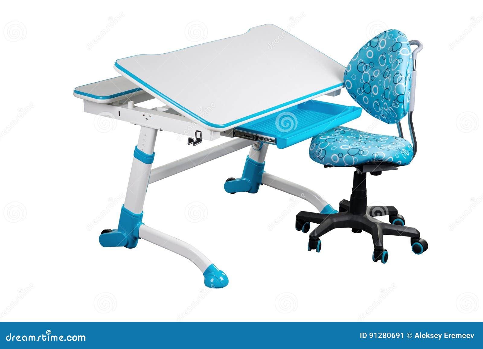Blå skolaskrivbord och blåttstol