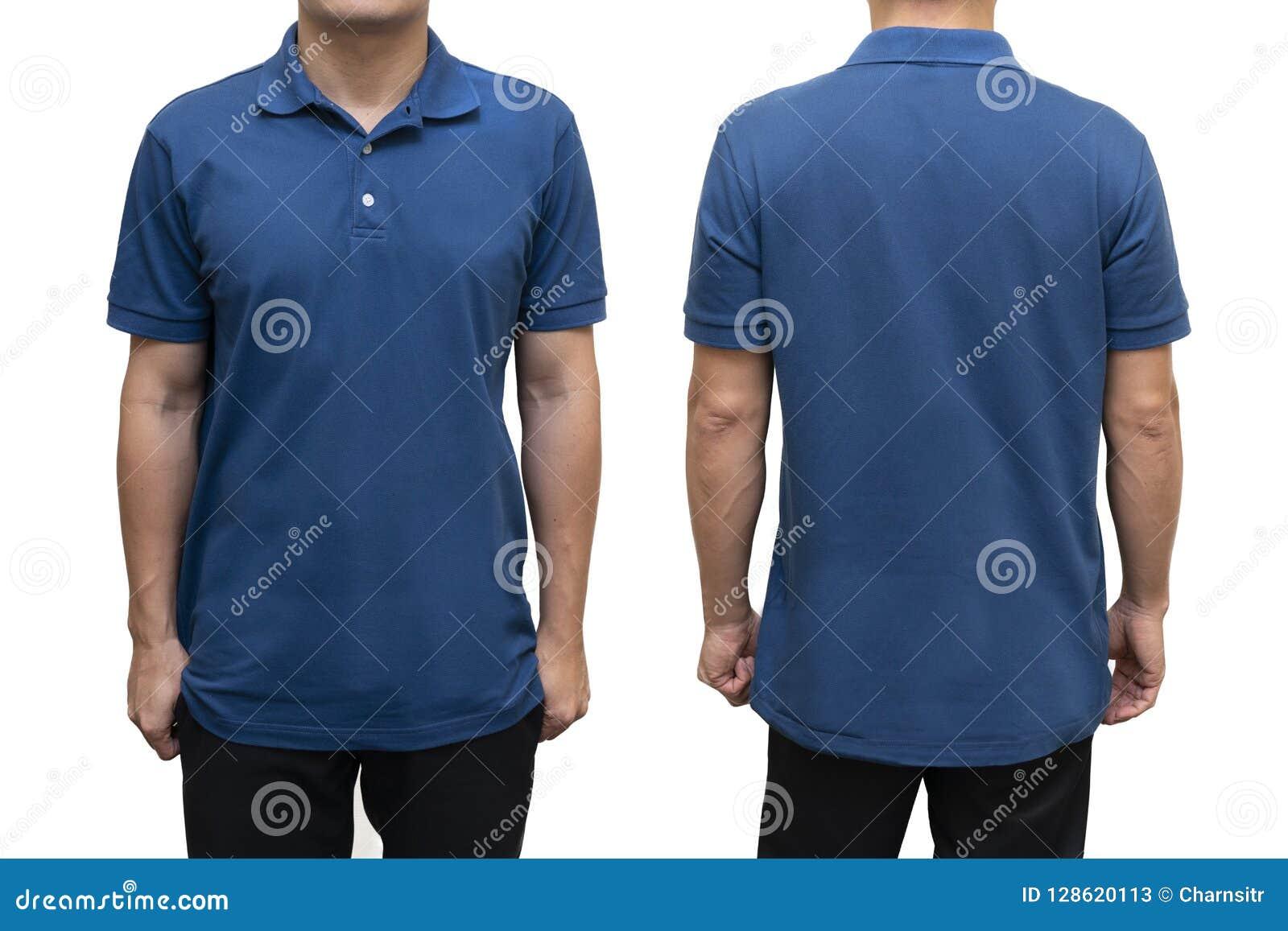 Blå tom polot-skjorta på människokroppen