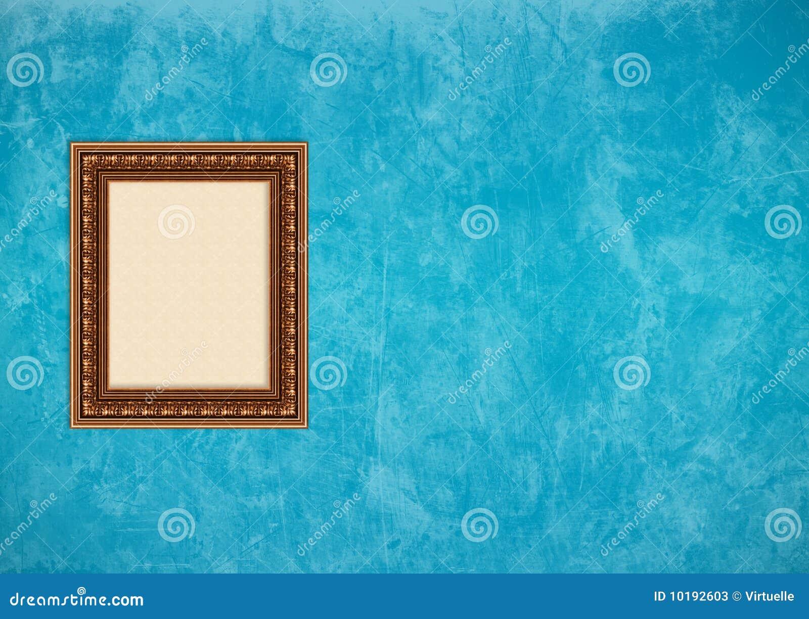 Blå tom vägg för stuckatur för ramgrungebild