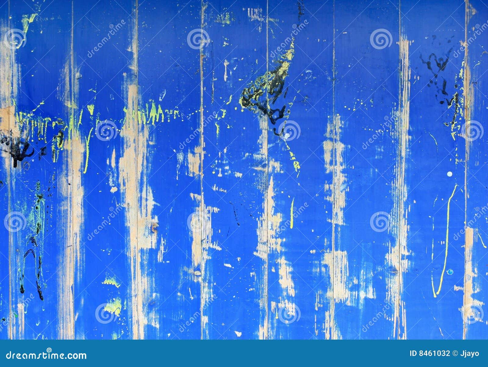 Blå trägrungevägg för abstrakt bakgrund