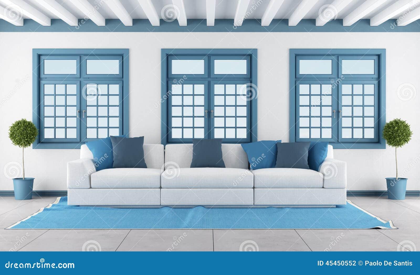Blå vardagsrumwhite