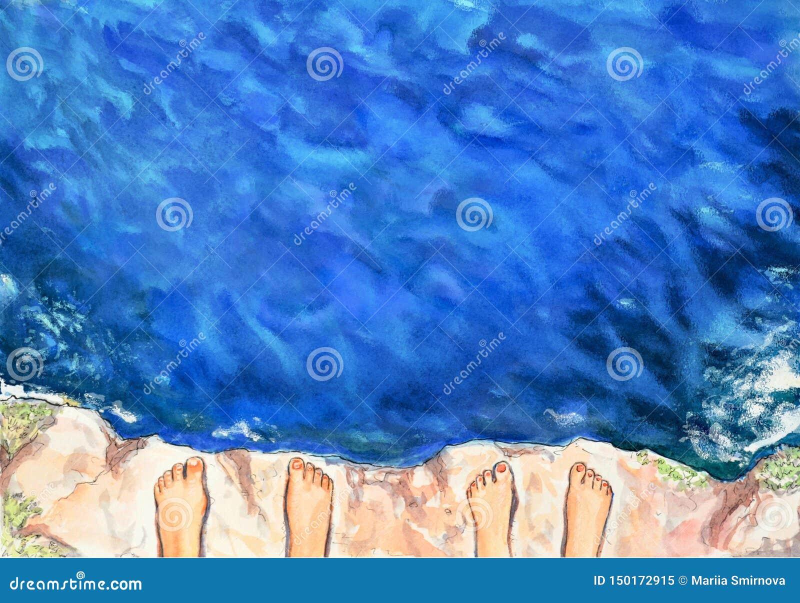 Blå vattenfärgsommarbakgrund Sikten från höjden av klippan på havsvågorna