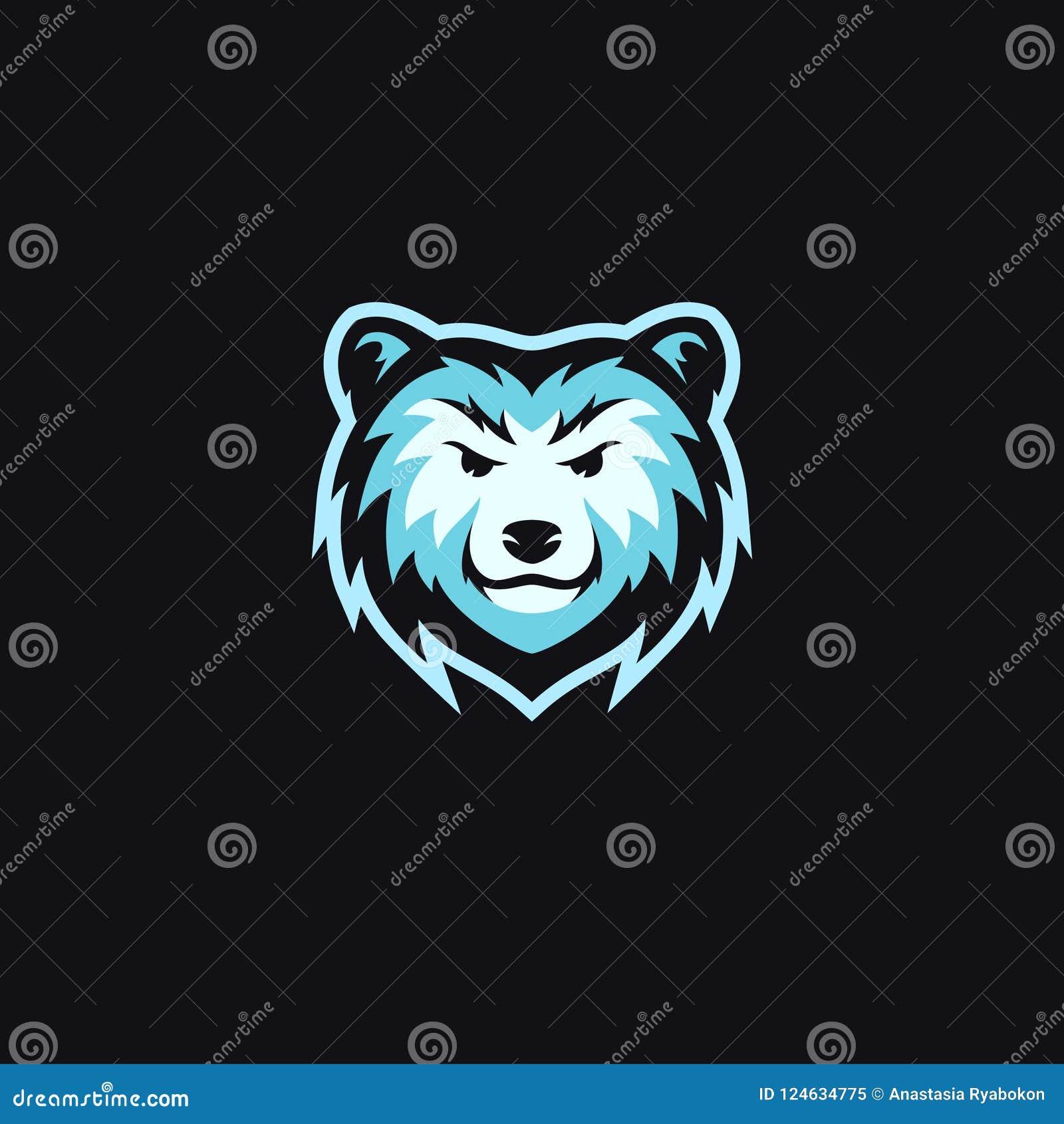 Blå vektor för design för logo för björnhuvudmaskot