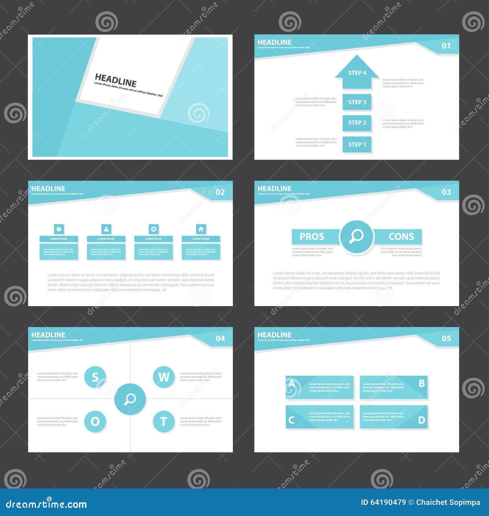 Blåa abstrakta presentationsmallInfographic beståndsdelar sänker designuppsättningen för marknadsföring för broschyrreklambladbro