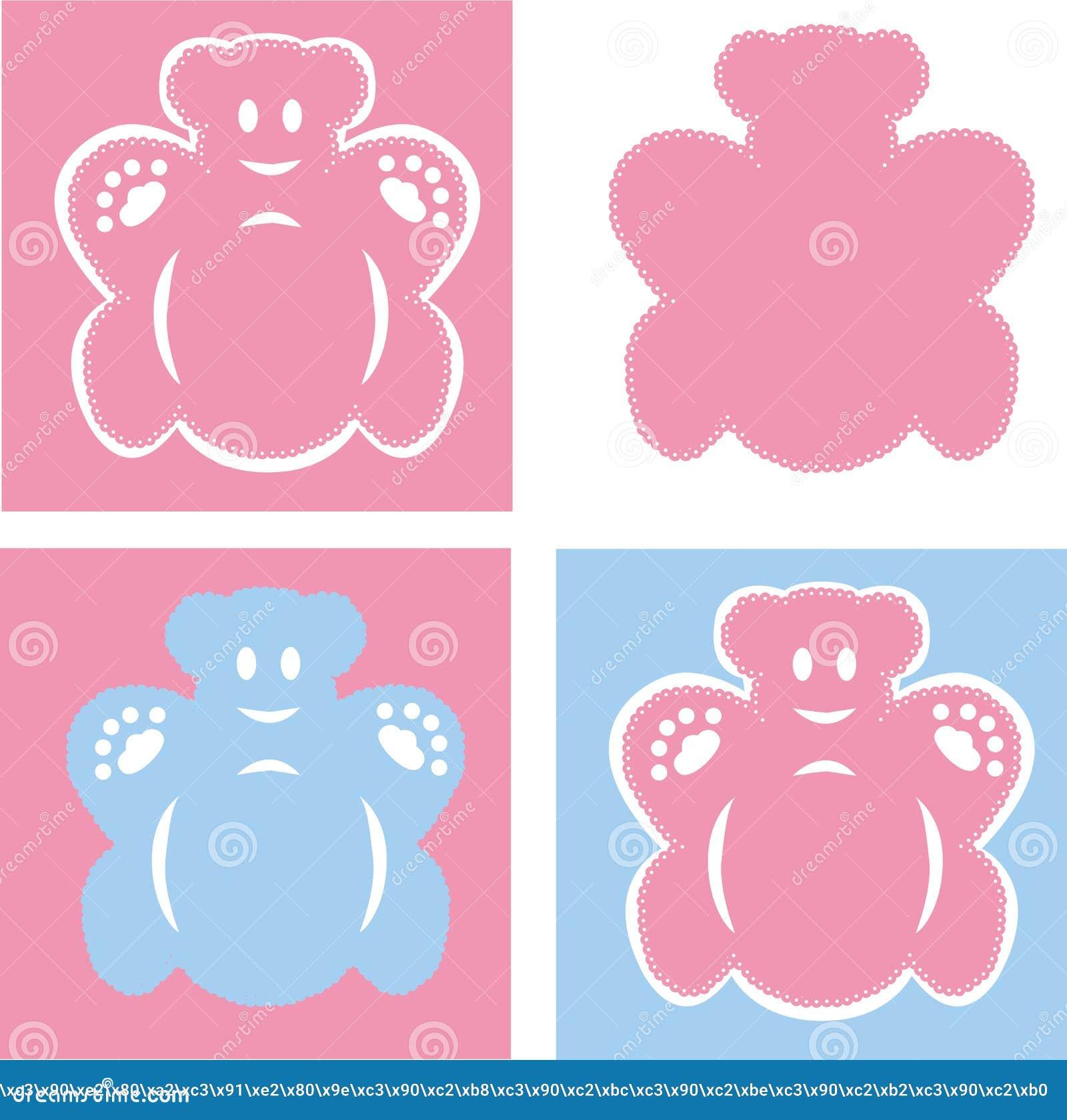 Blåa björnar som är rosa och