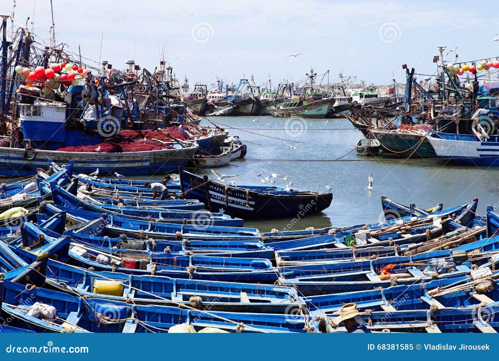Blåa fiskebåtar, Essaouira, Marocko