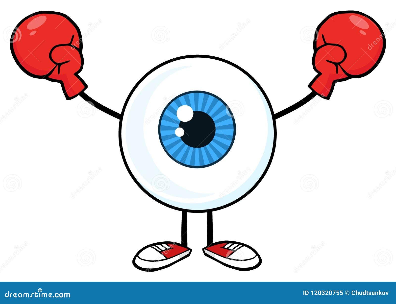 Blåa handskar för ögonglobGuy Cartoon Mascot Character Wearing boxning