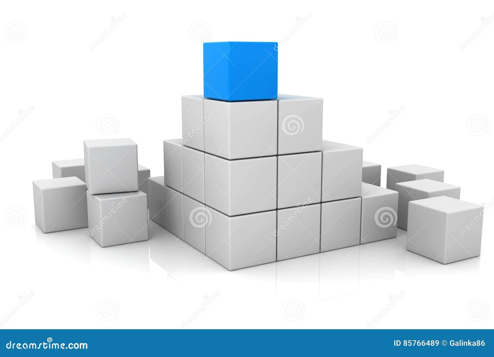 Blåa kub- och vitkuber 3d