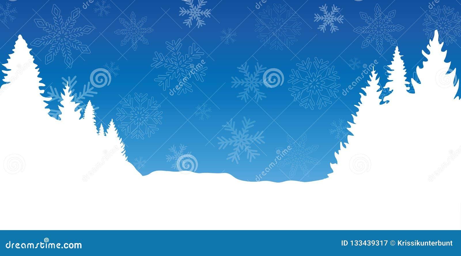 Blåa och vita chrismas övervintrar bakgrund med snöflingor och granar