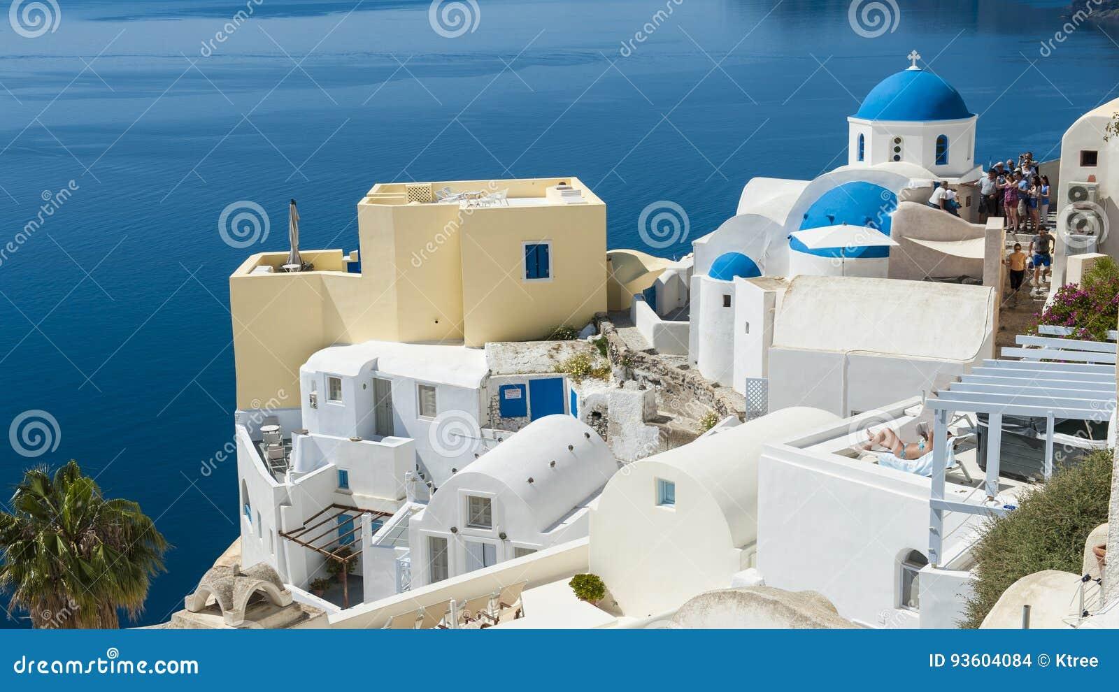 Blåa och vita Santorini
