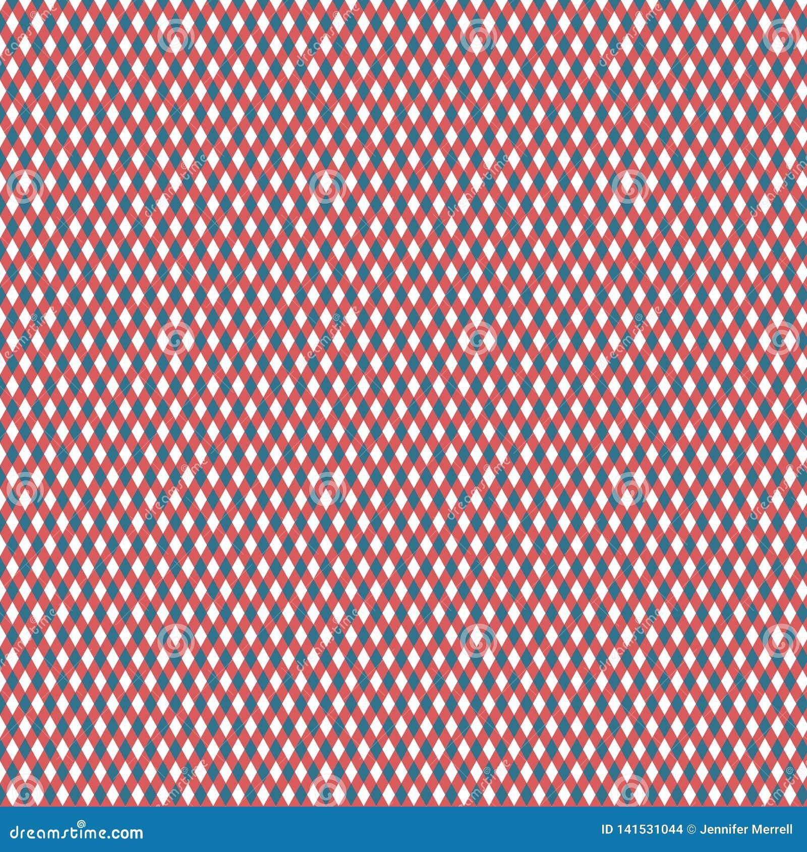 Blåa, röda och vita Diamond Pattern
