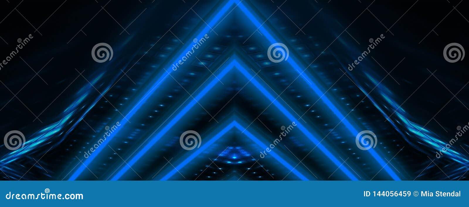 Blåa strålar för neon Mörk tunnel med blått ljus för neon, abstrakt pyramid, ljus triangel
