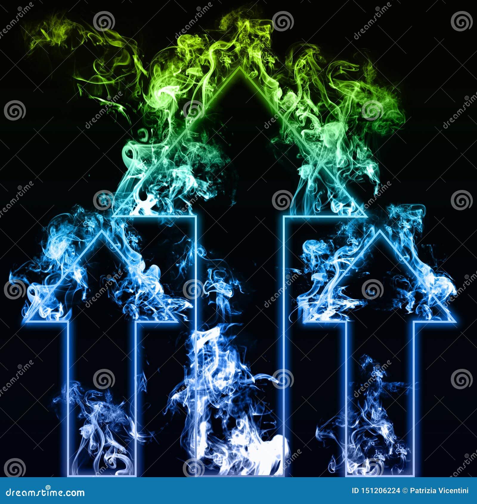 Blåa tre och gröna pilar med rök i svart bakgrund