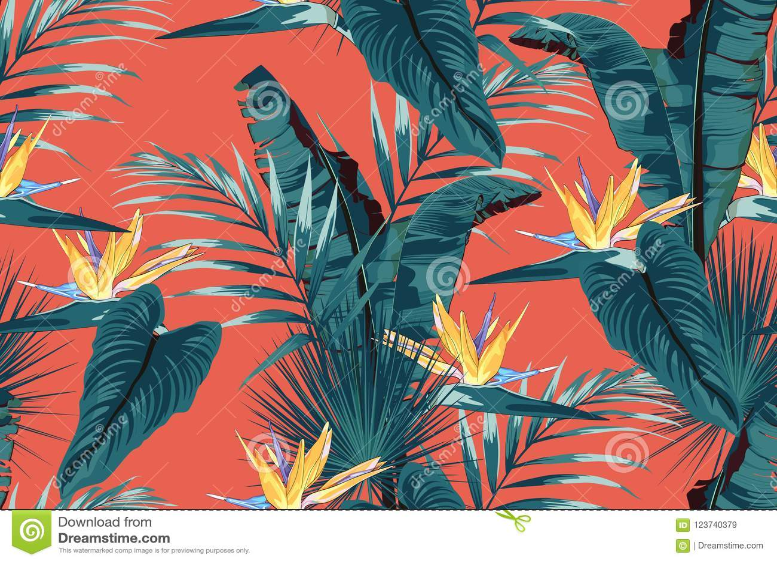 Blåa tropiska sidor med djungelväxter Blommar den tropiska modellen för den sömlösa vektorn med monsterasidor och gul strelitzia