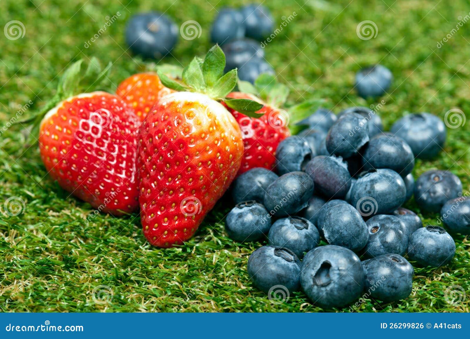 Blåbär och jordgubbar på en lawn