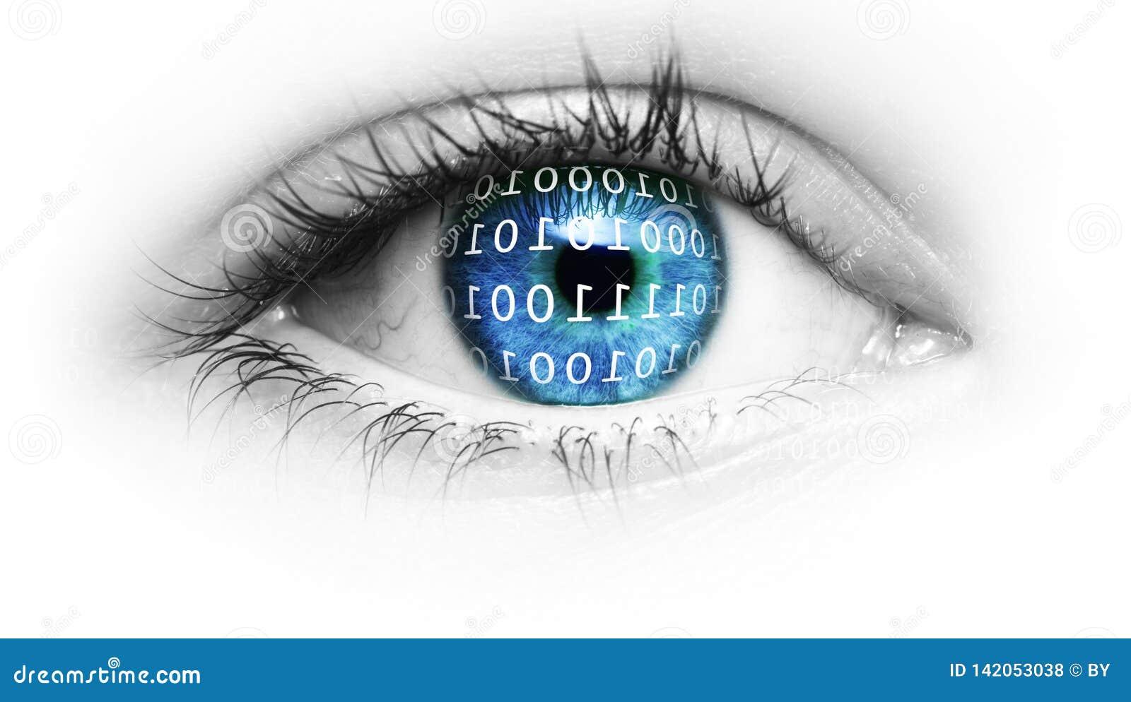 Blått öga med binär kod