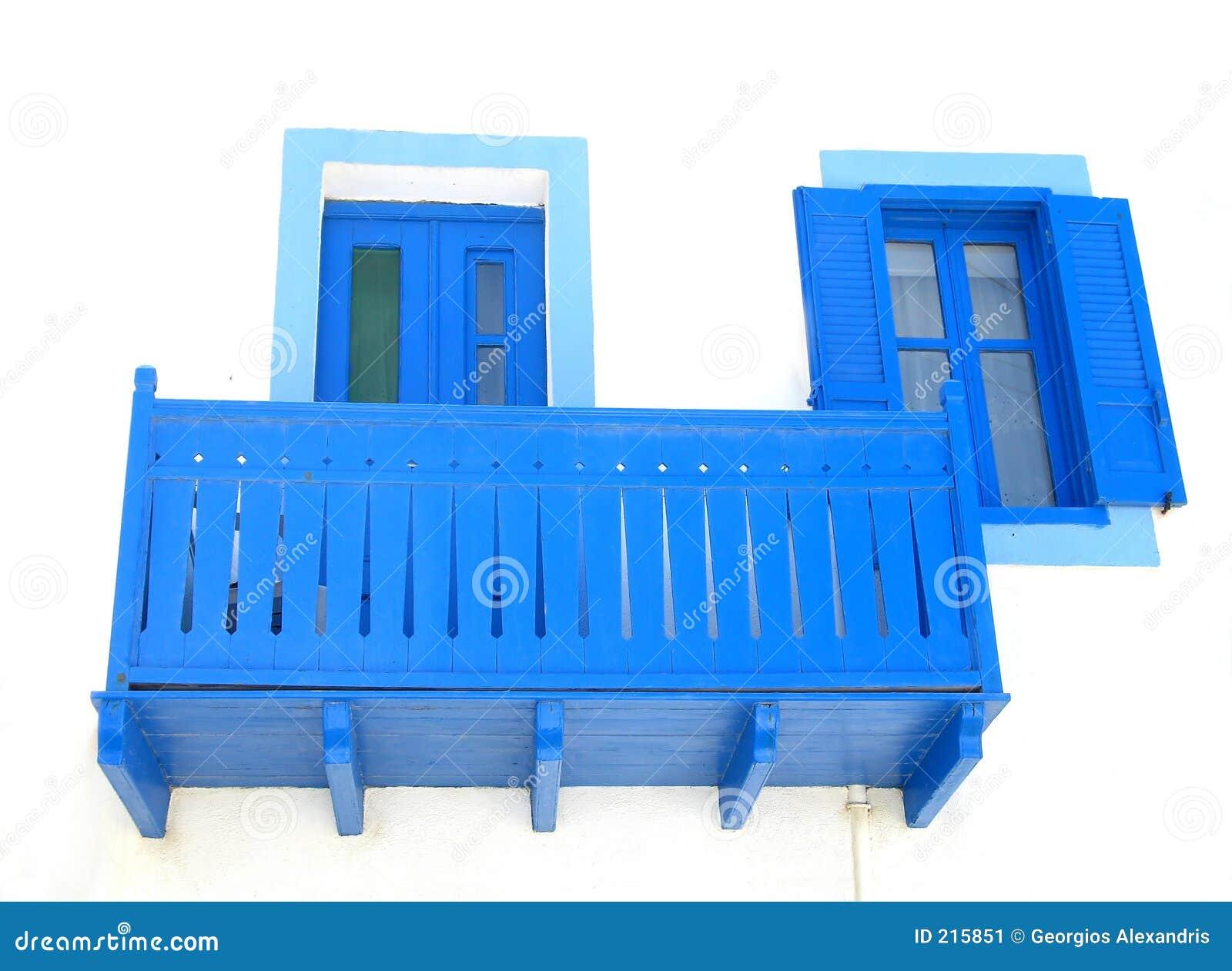 Blått dörrfönster för balkong