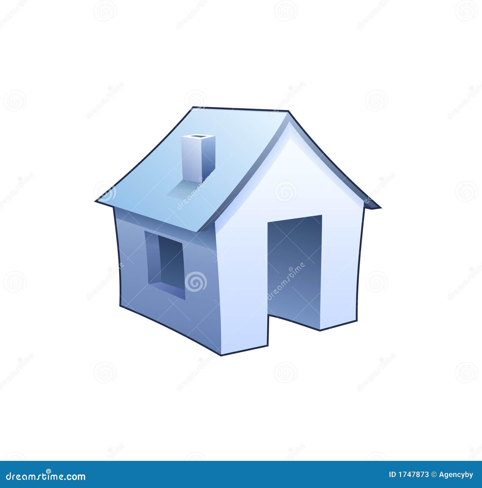 Blått detaljerat symbol för internet för homepage-hussymbol